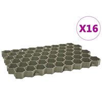 vidaXL Grasroosters 16 st 60x40x3 cm kunststof groen