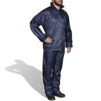 Regenpak 2-delig met capuchon (mannen / marineblauw / maat XL)