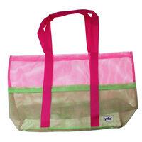 Yello strandtas mesh dames groen/roze 70 x 60 x 20 cm
