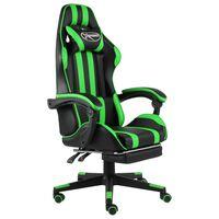 vidaXL Racestoel met voetensteun kunstleer zwart en groen