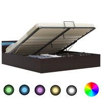 vidaXL Bedframe met opslag hydraulisch LED kunstleer grijs 160x200 cm