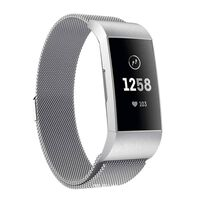 Fitbit Charge 3/4 Armband Milanese Lus Zilver (s)