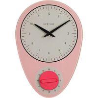 Wandklok NeXtime 28x19cm 'Hans', roze met timer
