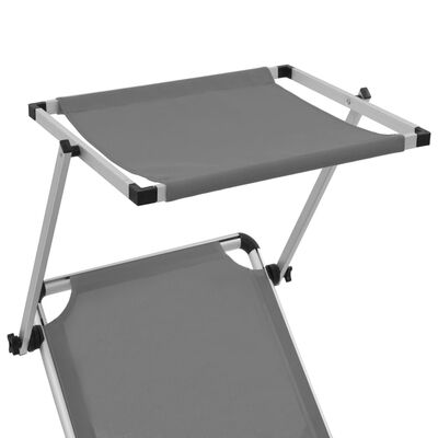 vidaXL Ligbed inklapbaar met dak aluminium en textileen grijs, Grey