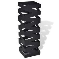 vidaXL Paraplu- en wandelstokhouder vierkant 48,5 cm staal zwart