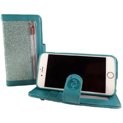Hem Apple Iphone 12 Pro Max - Magic Glitter Pure Turquoise - Leren