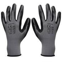 Werkhandschoenen 1 paar maat 9/L nitril grijs en zwart