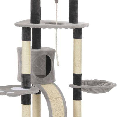 vidaXL Kattenkrabpaal met sisal krabpalen 145 cm grijs