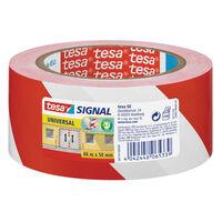1x Tesa afzettape/markeertape rood/wit 5 cm x 66 mtr -