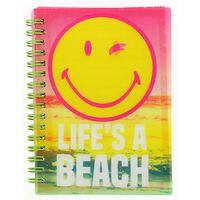 Blueprint Collections notitieboekje Smiley 15x10,5 cm roze/geel