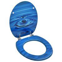 vidaXL Toiletbril met deksel waterdruppel MDF blauw