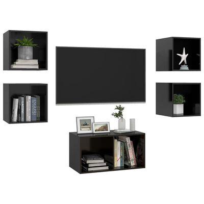 vidaXL 5-delige Tv-meubelset spaanplaat hoogglans zwart