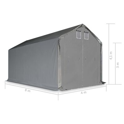 vidaXL Opslagtent 4x8m PVC grijs