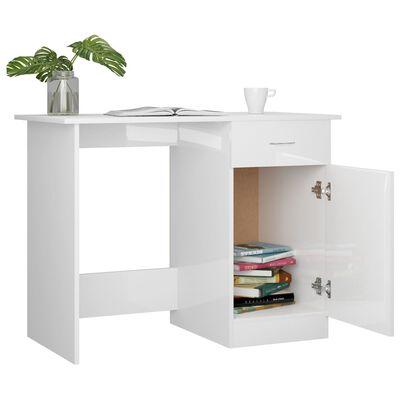 vidaXL Bureau 100x50x76 cm spaanplaat hoogglans wit