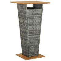 vidaXL Bartafel 60x60x110 cm poly rattan en massief acaciahout grijs