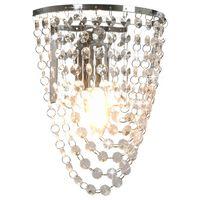 vidaXL Wandlamp met kristallen kralen ovaal E14 zilverkleurig