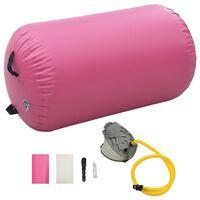 vidaXL Gymnastiekrol met pomp opblaasbaar 100x60 cm PVC roze