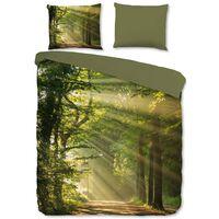 Good Morning Dekbedovertrek WOODS 200x200 cm groen