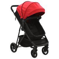 vidaXL Kinderwagen 2-in-1 staal rood en zwart