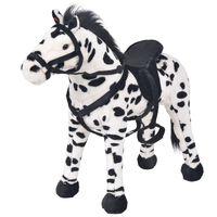 vidaXL Speelgoedpaard staand XXL pluche zwart en wit
