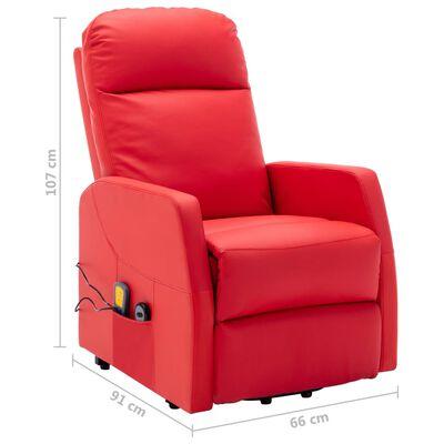 vidaXL Sta-op-massagestoel kunstleer rood