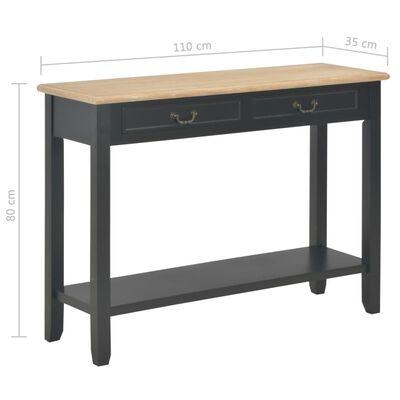vidaXL Wandtafel 110x35x80 cm hout zwart