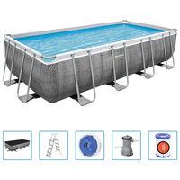 Bestway Zwembadset Power Steel rechthoekig 488x244x122 cm