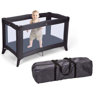 Home&Styling Babybed met matras inklapbaar donkergrijs