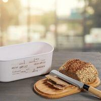 Melamine Ovale 2 in 1 Broodtrommel met Bamboe Snijplank - Brood
