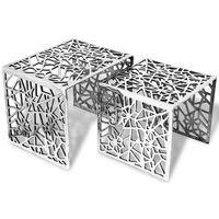 vidaXL Bijzettafels 2 stuks vierkant aluminium zilver