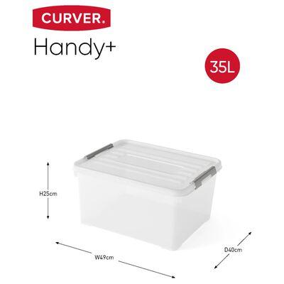 Curver Opbergboxen 3 st Handy+ met deksel 35 L transparant