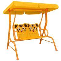 vidaXL Kinderschommelbank 115x75x110 cm stof geel