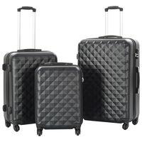 vidaXL 3-delige Harde kofferset ABS zwart