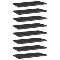vidaXL Wandschappen 8 st 40x20x1,5 cm spaanplaat hoogglans zwart