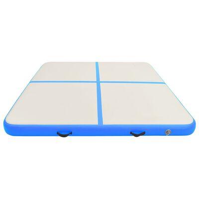 vidaXL Gymnastiekmat met pomp opblaasbaar 200x200x20 cm PVC blauw