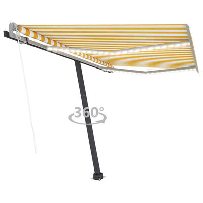 vidaXL Luifel automatisch met LED en windsensor 300x250 cm geel en wit