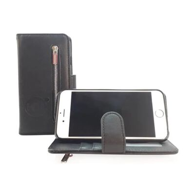 Hem Samsung Galaxy A71 - Antique Black Leren Rits Portemonnee Hoesje -