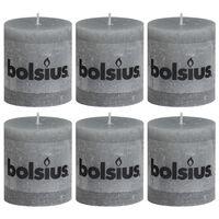 Bolsius Rustiekkaarsen 6 st 80x68 mm lichtgrijs