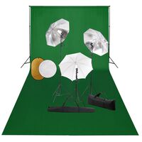 vidaXL Fotostudioset met lampen, paraplu's, achtergrond en reflector