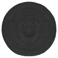 LABEL51 Vloerkleed rond Jute XL 150x150 cm zwart