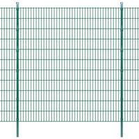 vidaXL Dubbelstaafmatten en palen 2008x2230 mm 42 m groen