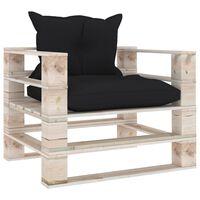 vidaXL Tuinbank met zwarte kussens pallet grenenhout