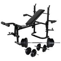vidaXL Gewichtenbank met gewichtenrek en halterset 60,5 kg
