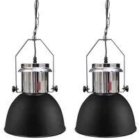 vidaXL Plafondlampen 2 st in hoogte verstelbaar modern metaal zwart