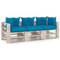 vidaXL Tuinbank 3-zits met kussens pallet grenenhout