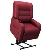 vidaXL Fauteuil elektrisch sta-op-stoel kunstleer wijnrood