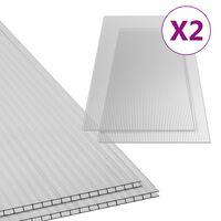 vidaXL Polycarbonaatplaten 2 st 4,5 mm 150x65 cm