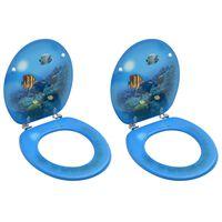 vidaXL Toiletbrillen met deksel 2 st diepzee MDF