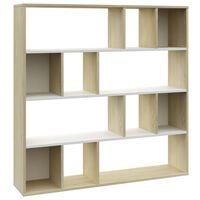 vidaXL Kamerscherm/boekenkast 110x24x110 cm spaanplaat wit eikenkleur