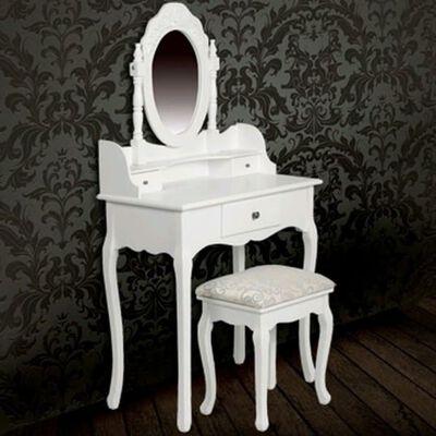 vidaXL Kaptafel met spiegel en kruk wit